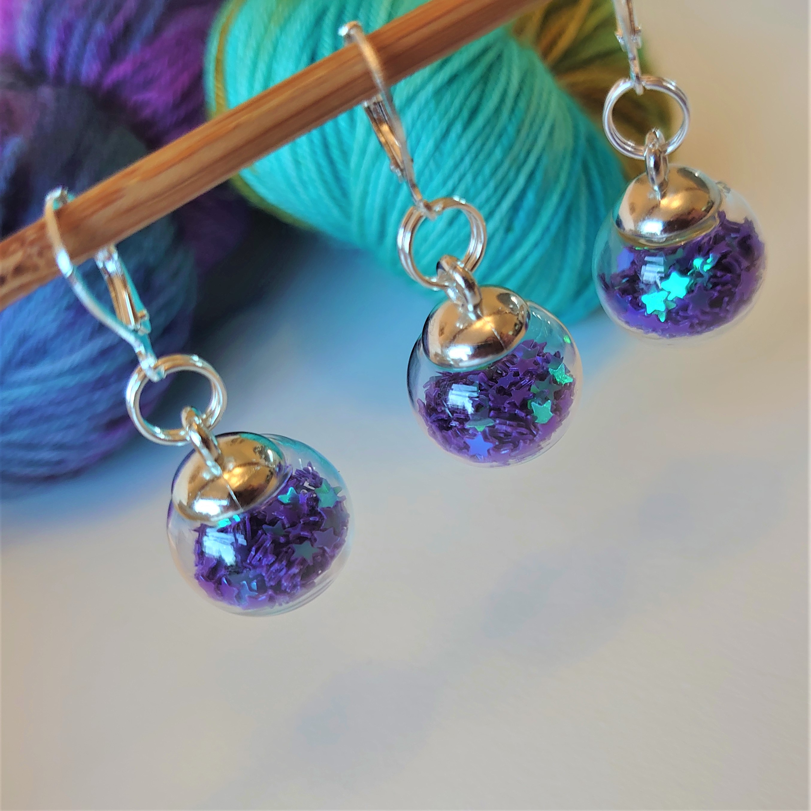 Midnight Blue Sparkle Bauble Stitch Markers