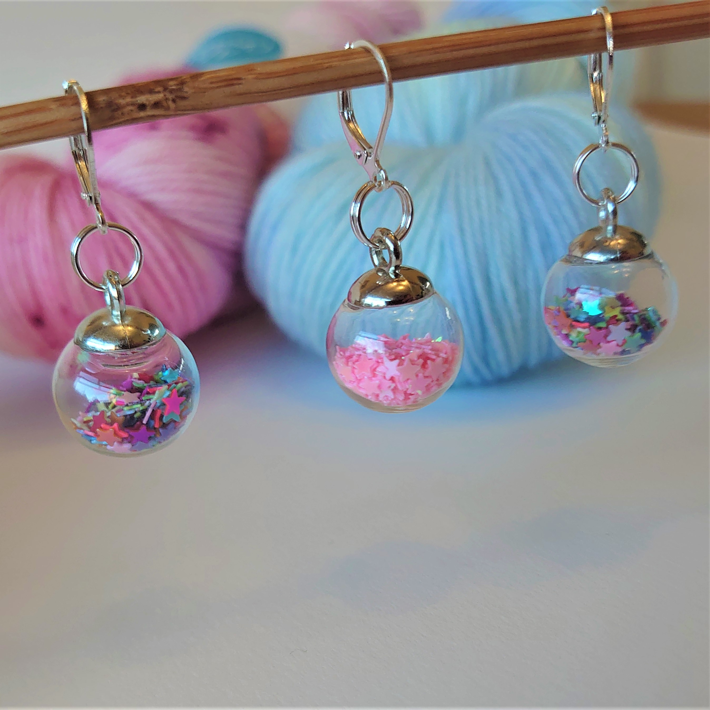 Pink Mix Sparkle Bauble Stitch Markers