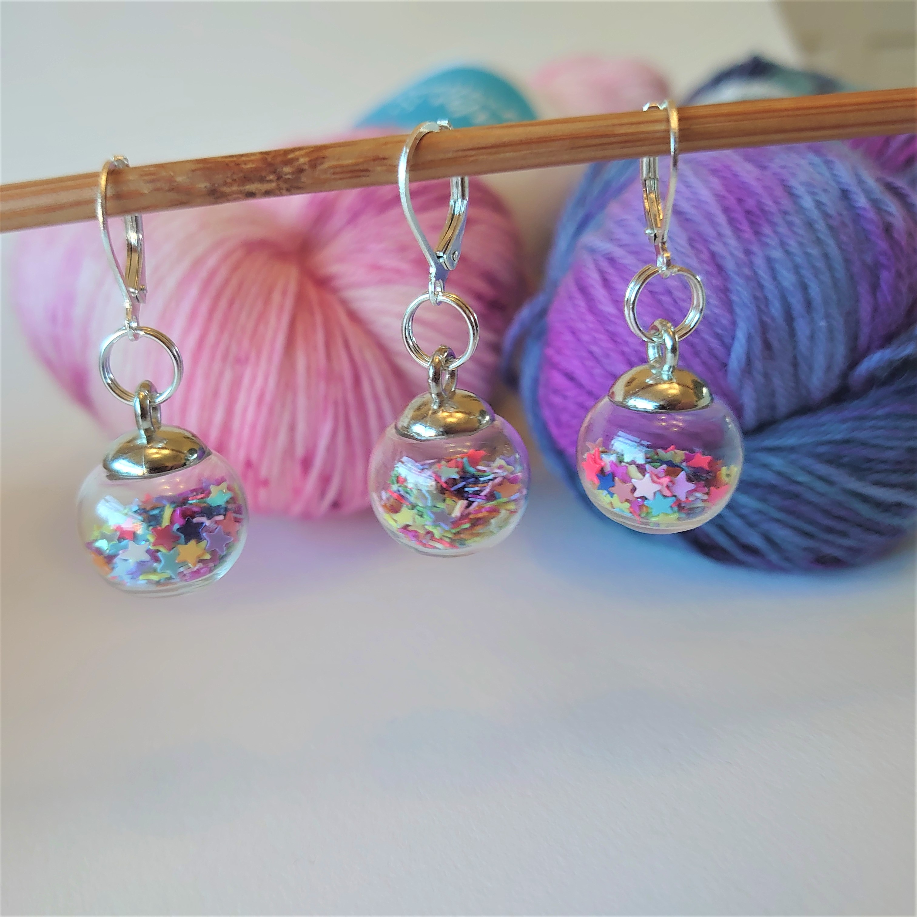 Multicoloured Sparkle Bauble Stitch Markers