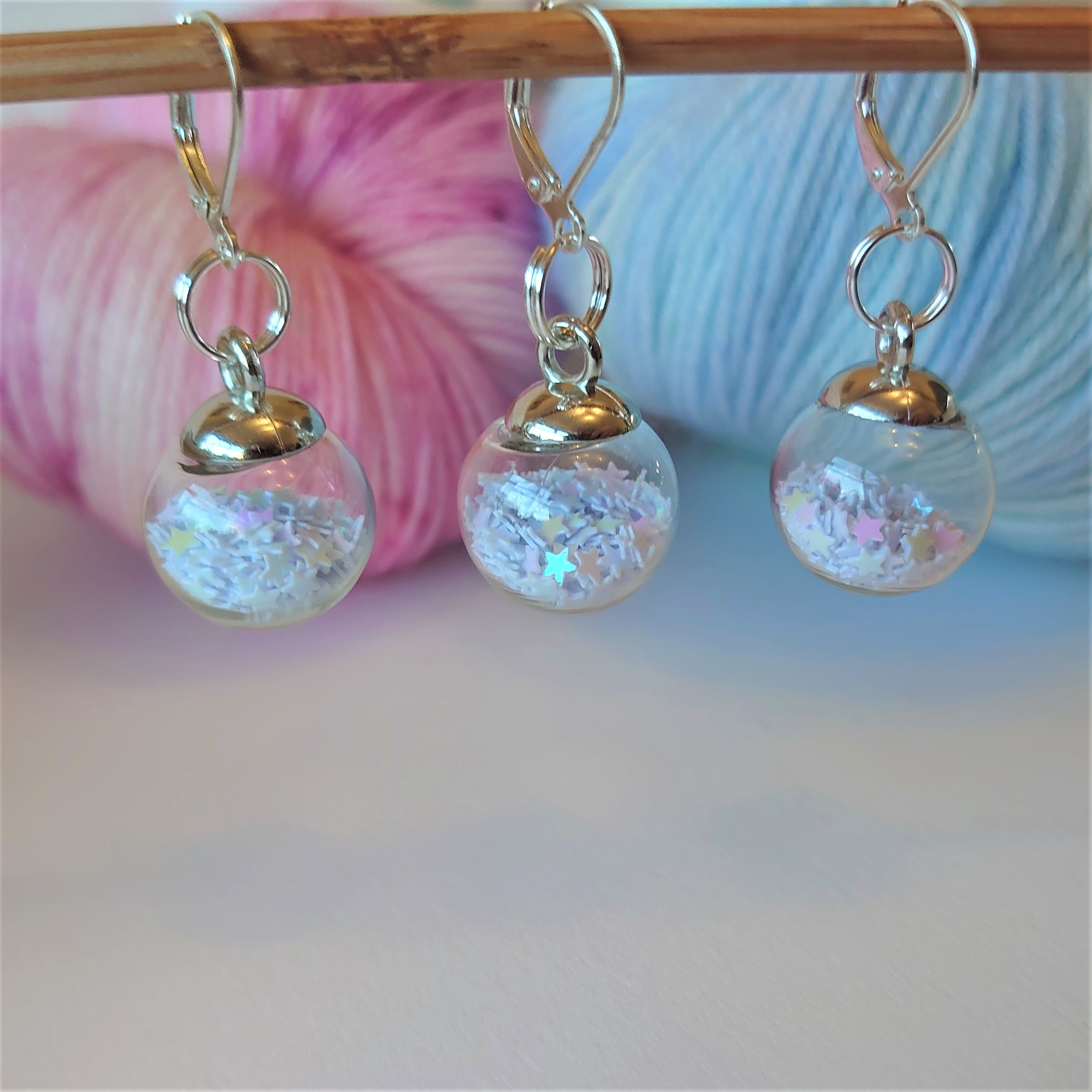 White Sparkle Bauble Stitch Markers