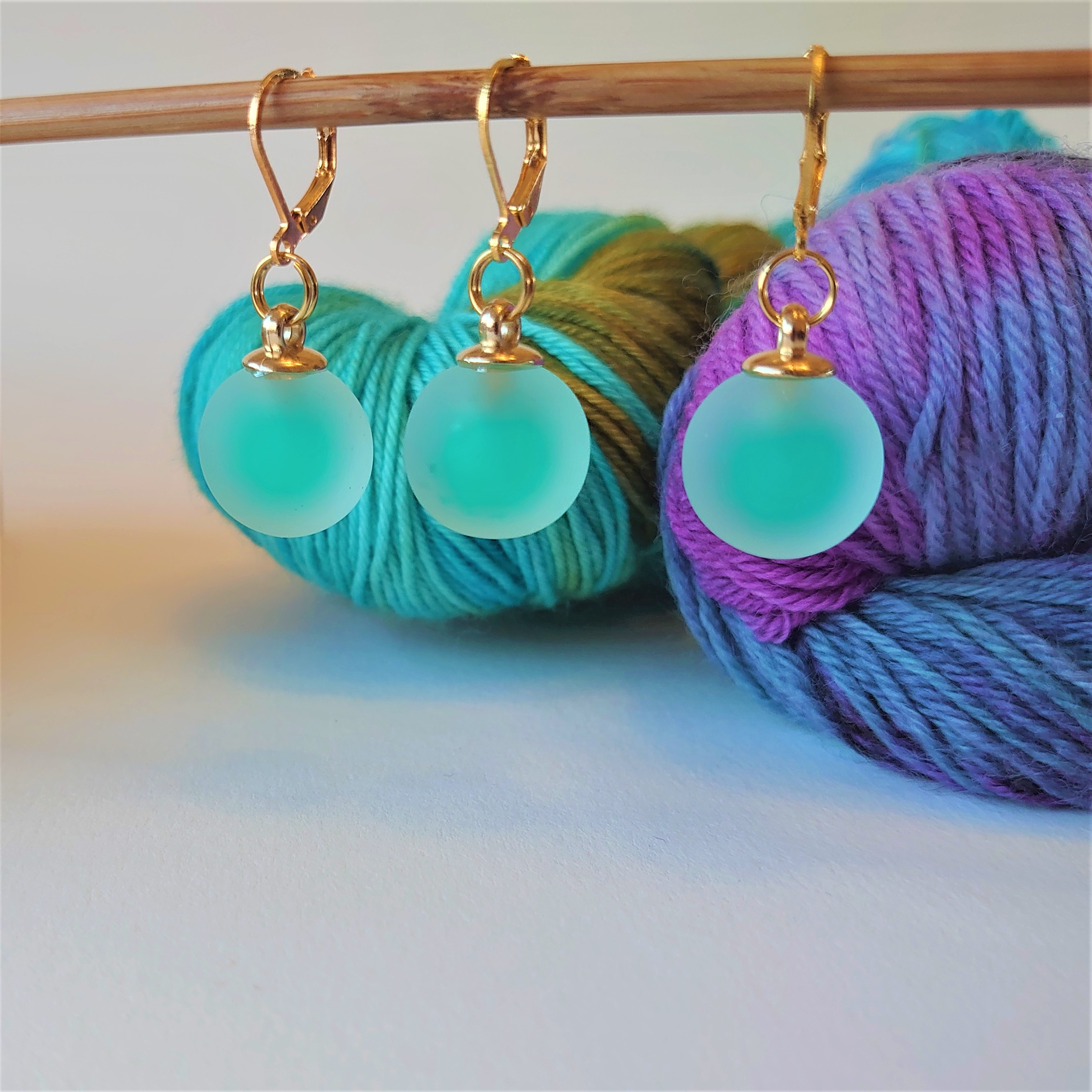 Green Frosted Stitch Markers