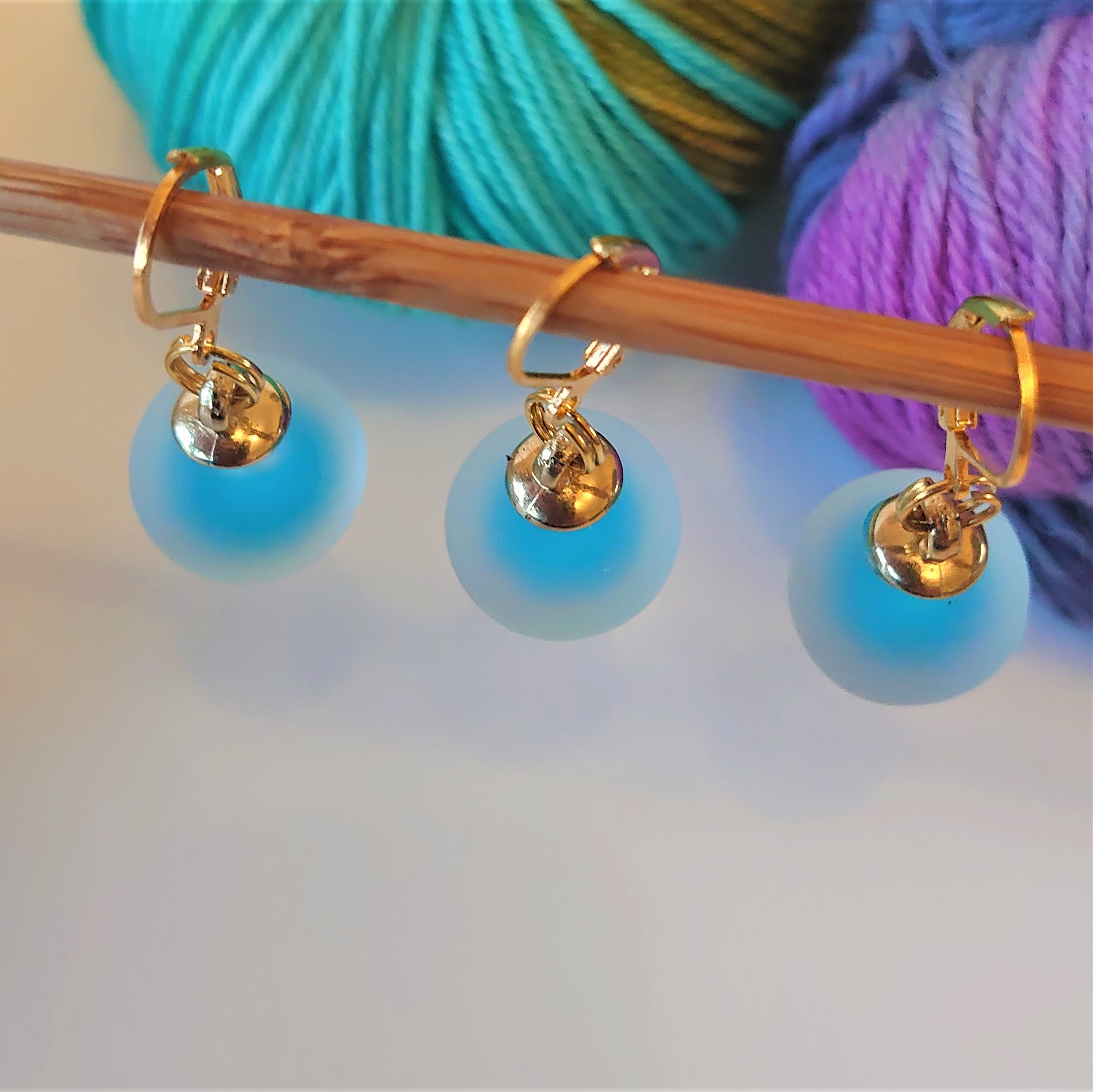 Blue Frosted Stitch Markers
