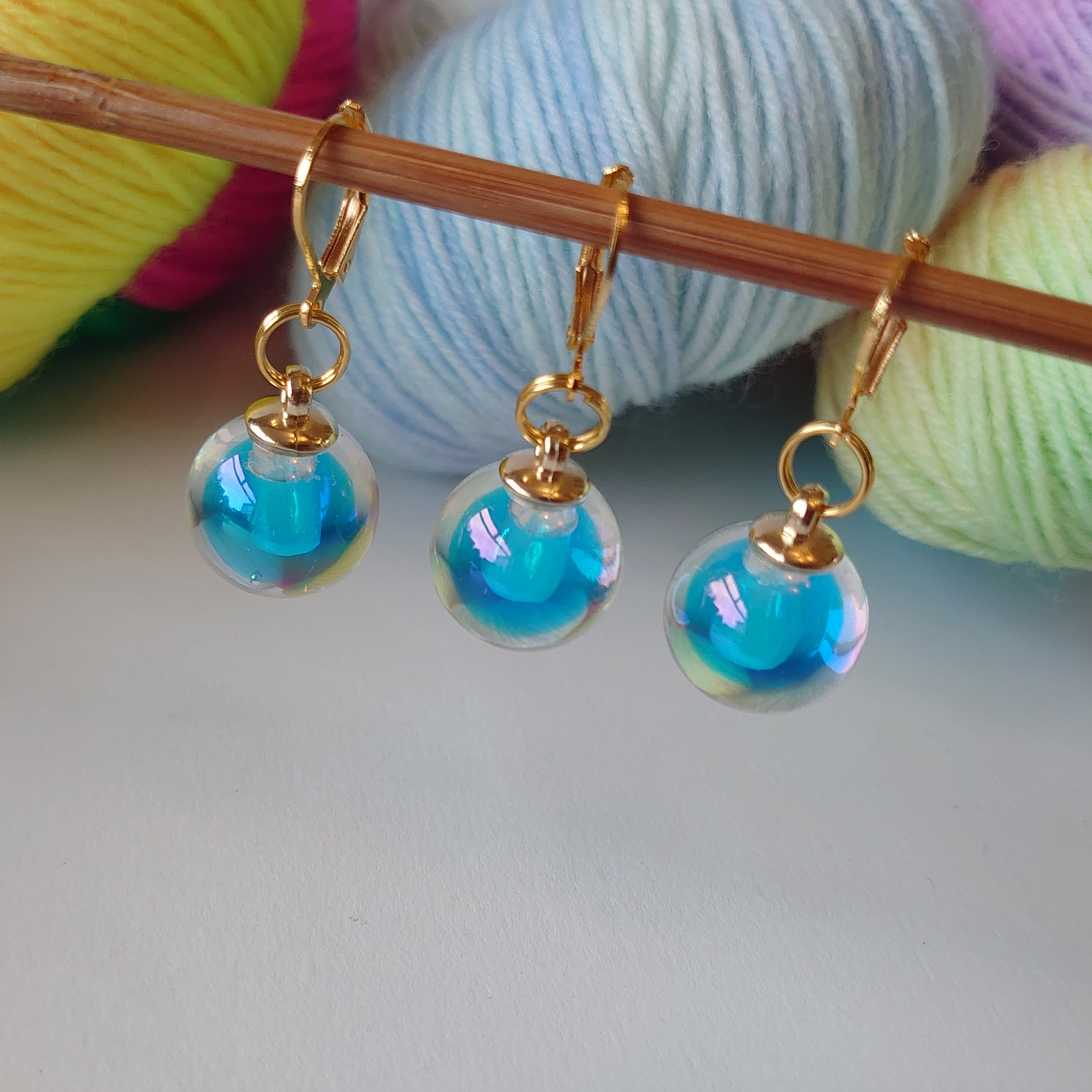 Blue Glass Stitch Markers