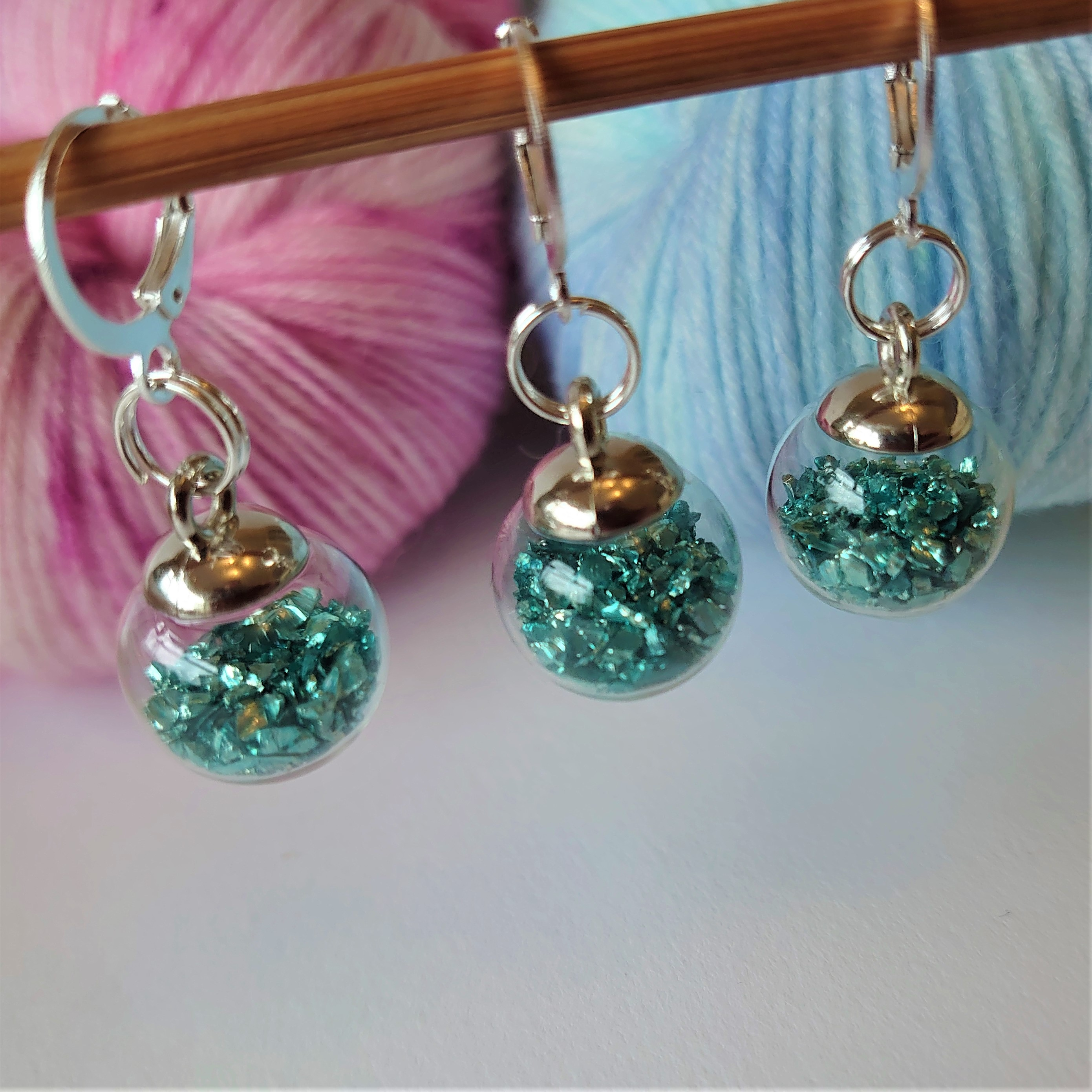 Blue Green Stitch Markers