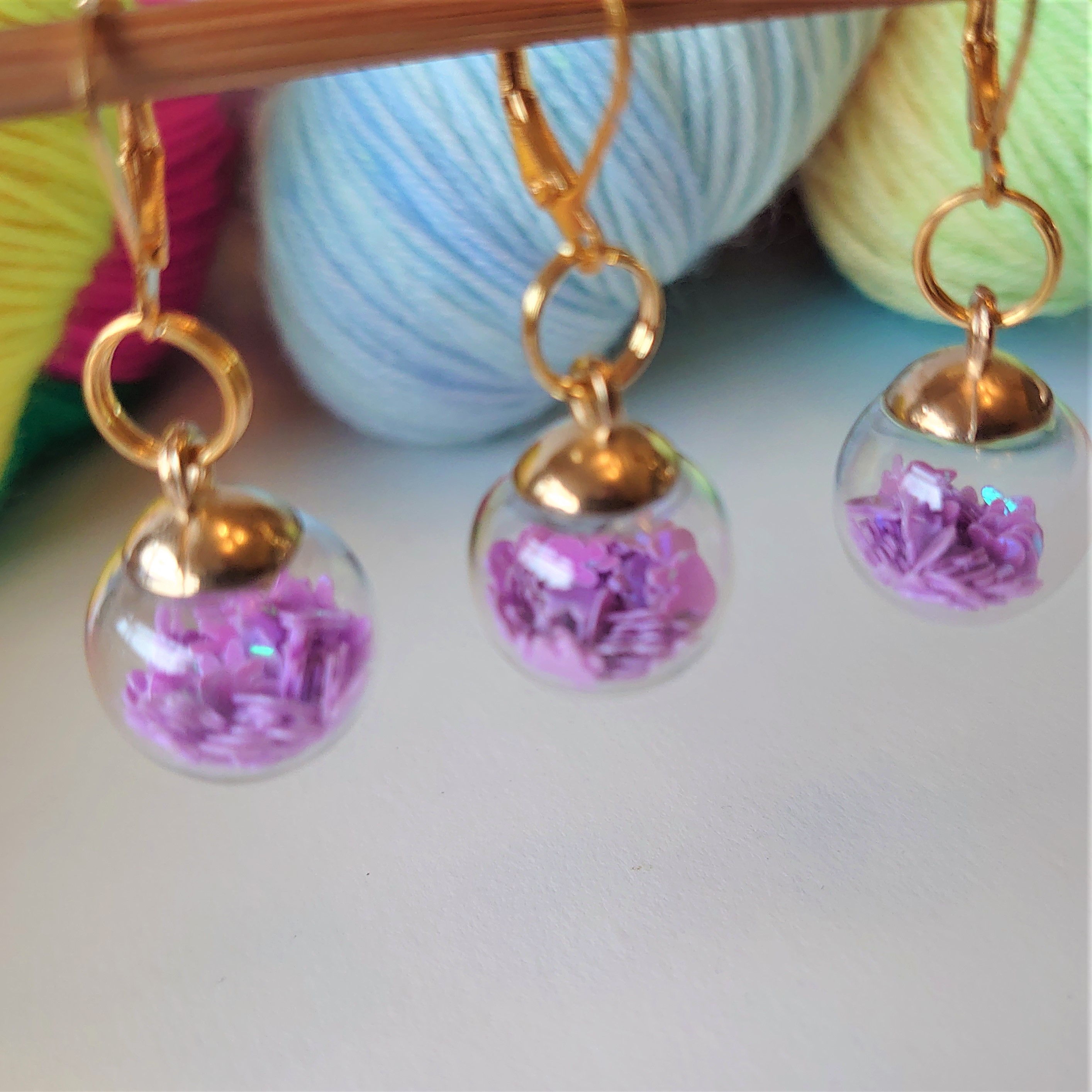 Lilac Bunnies Bauble Stitch Markers