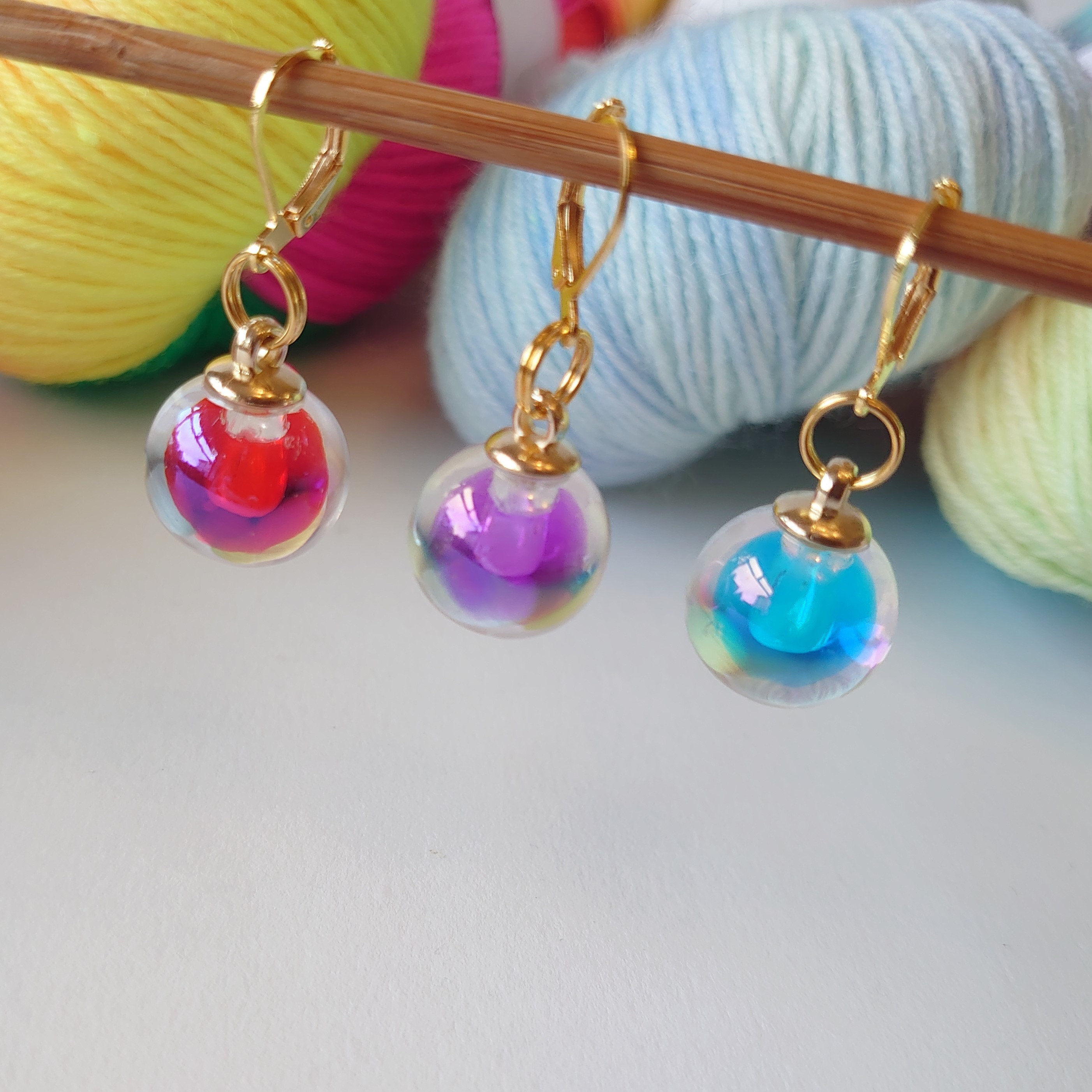Mixed Glass Stitch Markers
