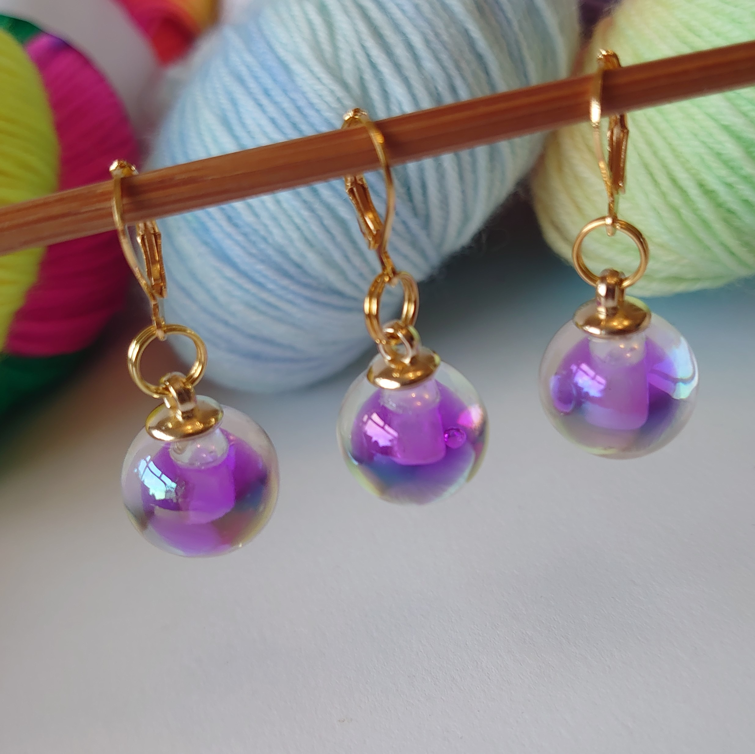 Purple Glass Stitch Markers