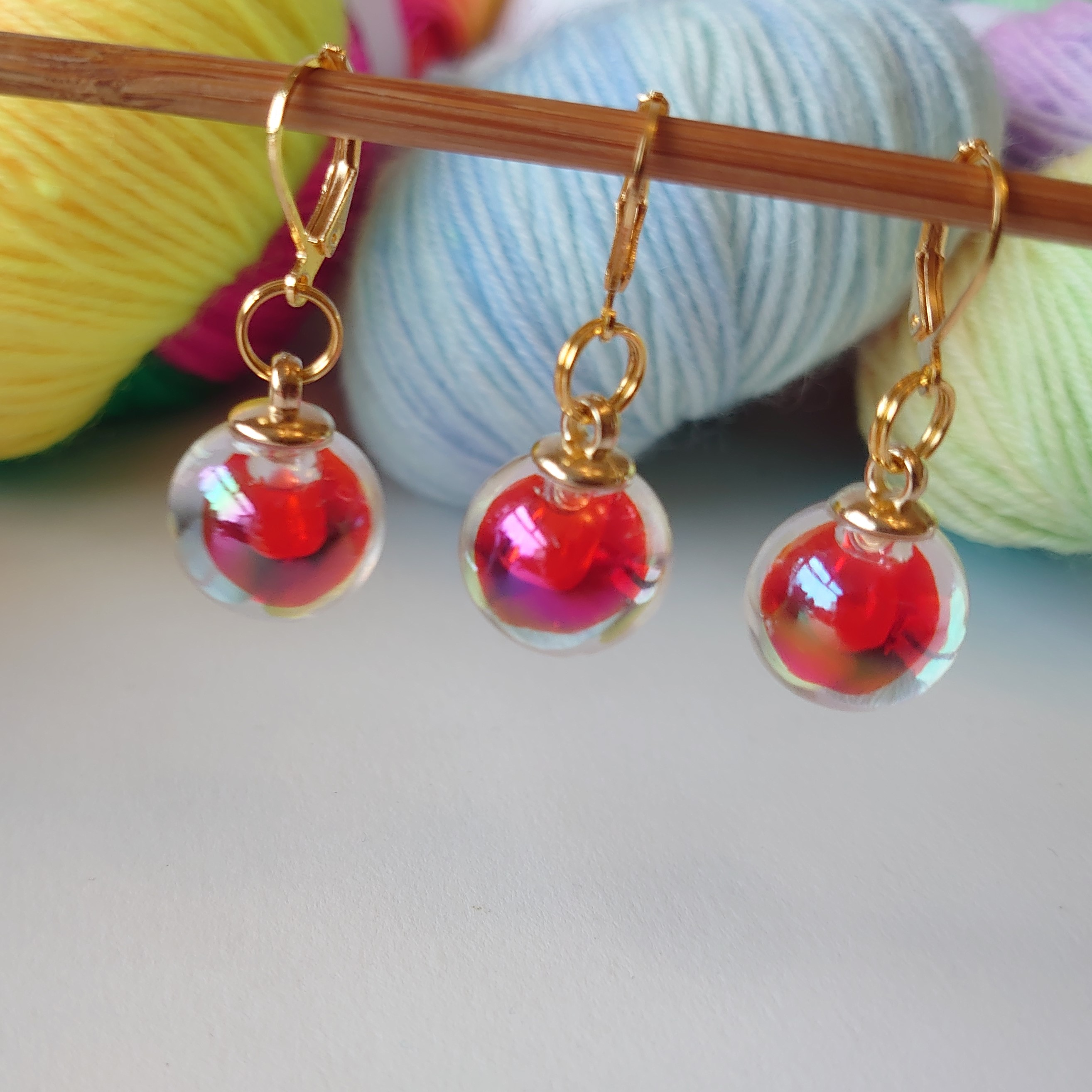 Red Glass Stitch Markers