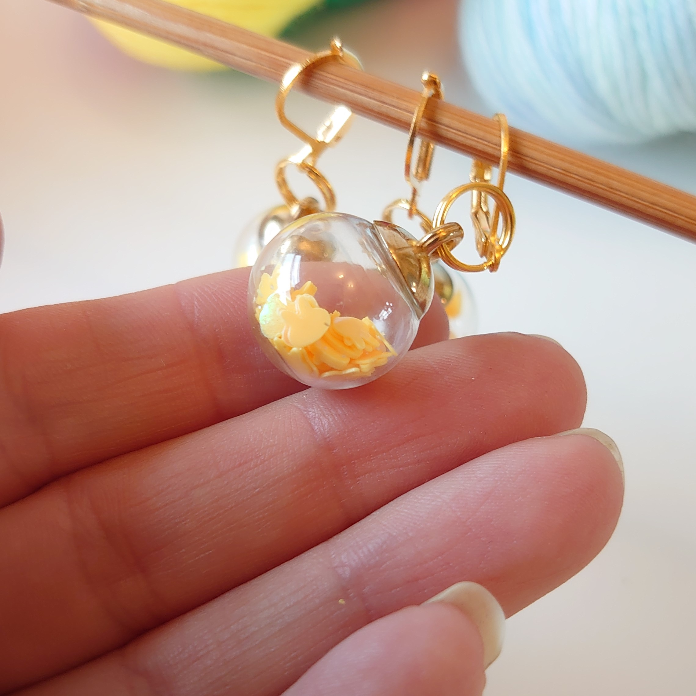 Lemon Bunnies Bauble Stitch Markers